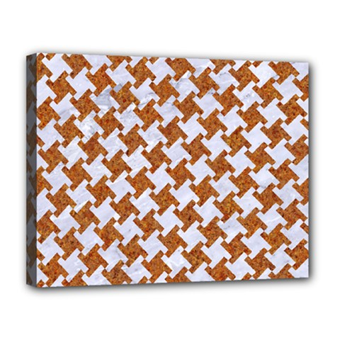 Houndstooth2 White Marble & Rusted Metal Canvas 14  X 11  by trendistuff