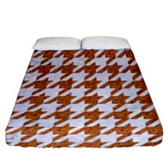 Houndstooth1 White Marble & Rusted Metal Fitted Sheet (queen Size) by trendistuff