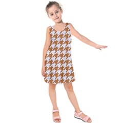 Houndstooth1 White Marble & Rusted Metal Kids  Sleeveless Dress