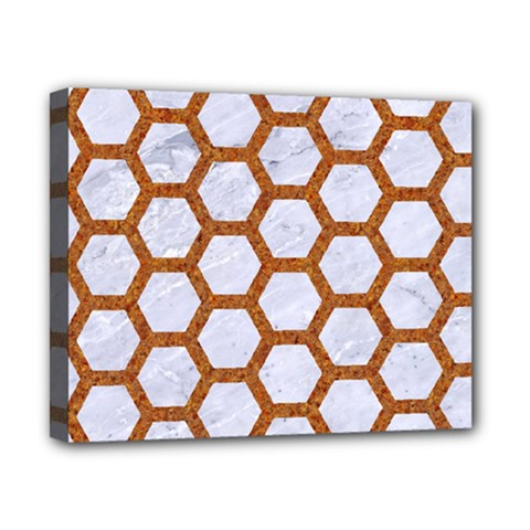 Hexagon2 White Marble & Rusted Metal (r) Canvas 10  X 8  by trendistuff