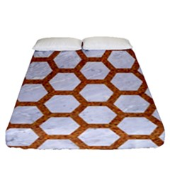 Hexagon2 White Marble & Rusted Metal (r) Fitted Sheet (queen Size) by trendistuff