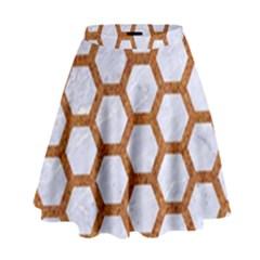 Hexagon2 White Marble & Rusted Metal (r) High Waist Skirt by trendistuff