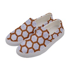 Hexagon2 White Marble & Rusted Metal (r) Women s Canvas Slip Ons by trendistuff