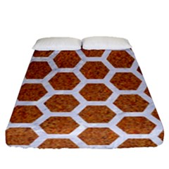 Hexagon2 White Marble & Rusted Metal Fitted Sheet (queen Size) by trendistuff