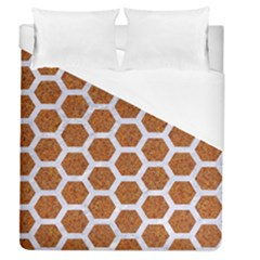 Hexagon2 White Marble & Rusted Metal Duvet Cover (queen Size) by trendistuff