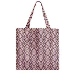 Hexagon1 White Marble & Rusted Metal (r) Zipper Grocery Tote Bag by trendistuff