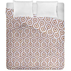 Hexagon1 White Marble & Rusted Metal (r) Duvet Cover Double Side (california King Size) by trendistuff
