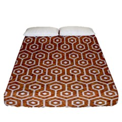 Hexagon1 White Marble & Rusted Metal Fitted Sheet (queen Size) by trendistuff