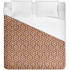Hexagon1 White Marble & Rusted Metal Duvet Cover (king Size) by trendistuff