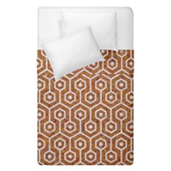 Hexagon1 White Marble & Rusted Metal Duvet Cover Double Side (single Size) by trendistuff