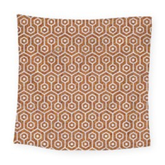 Hexagon1 White Marble & Rusted Metal Square Tapestry (large) by trendistuff