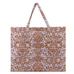 Damask2 White Marble & Rusted Metal (r) Zipper Large Tote Bag by trendistuff