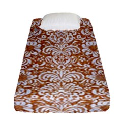 Damask2 White Marble & Rusted Metal Fitted Sheet (single Size) by trendistuff