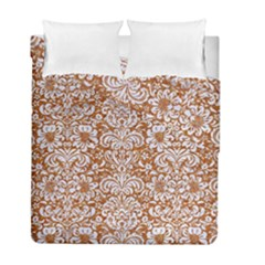 Damask2 White Marble & Rusted Metal Duvet Cover Double Side (full/ Double Size) by trendistuff