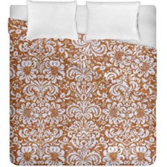 Damask2 White Marble & Rusted Metal Duvet Cover Double Side (king Size) by trendistuff