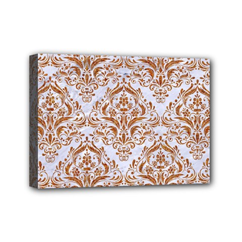 Damask1 White Marble & Rusted Metal (r) Mini Canvas 7  X 5  by trendistuff