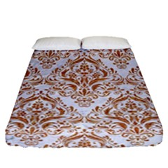 Damask1 White Marble & Rusted Metal (r) Fitted Sheet (queen Size) by trendistuff