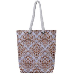 Damask1 White Marble & Rusted Metal (r) Full Print Rope Handle Tote (small) by trendistuff