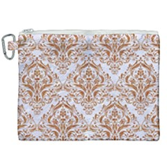 Damask1 White Marble & Rusted Metal (r) Canvas Cosmetic Bag (xxl) by trendistuff