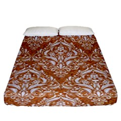 Damask1 White Marble & Rusted Metal Fitted Sheet (queen Size) by trendistuff