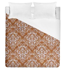 Damask1 White Marble & Rusted Metal Duvet Cover (queen Size) by trendistuff