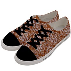 Damask1 White Marble & Rusted Metal Men s Low Top Canvas Sneakers by trendistuff