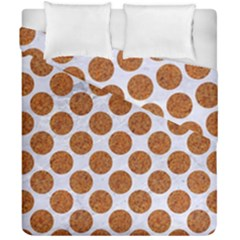 Circles2 White Marble & Rusted Metal (r) Duvet Cover Double Side (california King Size) by trendistuff
