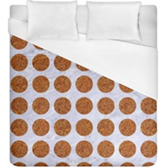Circles1 White Marble & Rusted Metal (r) Duvet Cover (king Size) by trendistuff