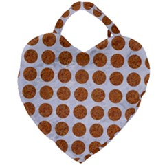 Circles1 White Marble & Rusted Metal (r) Giant Heart Shaped Tote by trendistuff