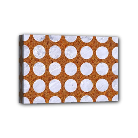 Circles1 White Marble & Rusted Metal Mini Canvas 6  X 4  by trendistuff