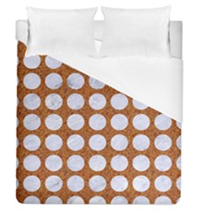 Circles1 White Marble & Rusted Metal Duvet Cover (queen Size) by trendistuff