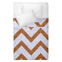 Chevron9 White Marble & Rusted Metal (r) Duvet Cover Double Side (single Size) by trendistuff