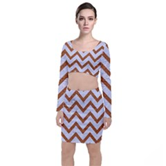 Chevron9 White Marble & Rusted Metal (r) Long Sleeve Crop Top & Bodycon Skirt Set