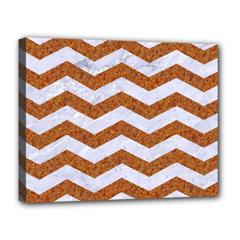 Chevron3 White Marble & Rusted Metal Canvas 14  X 11  by trendistuff