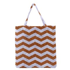 Chevron3 White Marble & Rusted Metal Grocery Tote Bag by trendistuff