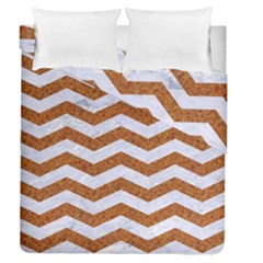 Chevron3 White Marble & Rusted Metal Duvet Cover Double Side (queen Size) by trendistuff