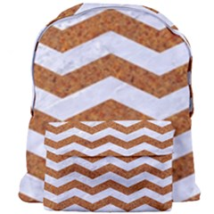 Chevron3 White Marble & Rusted Metal Giant Full Print Backpack by trendistuff
