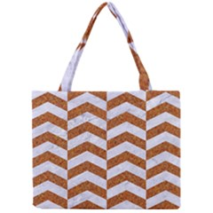 Chevron2 White Marble & Rusted Metal Mini Tote Bag by trendistuff