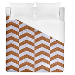 Chevron2 White Marble & Rusted Metal Duvet Cover (queen Size) by trendistuff