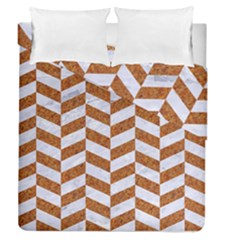 Chevron1 White Marble & Rusted Metal Duvet Cover Double Side (queen Size) by trendistuff