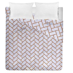 Brick2 White Marble & Rusted Metal (r) Duvet Cover Double Side (queen Size) by trendistuff