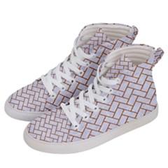 Brick2 White Marble & Rusted Metal (r) Women s Hi Top Skate Sneakers by trendistuff