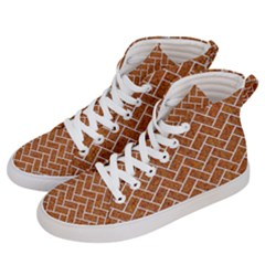 Brick2 White Marble & Rusted Metal Men s Hi Top Skate Sneakers by trendistuff