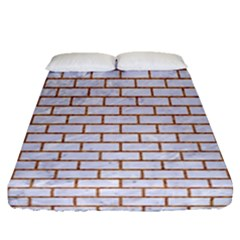 Brick1 White Marble & Rusted Metal (r) Fitted Sheet (queen Size) by trendistuff
