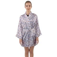 Brick1 White Marble & Rusted Metal (r) Long Sleeve Kimono Robe