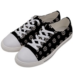 Dark Stylized Floral Pattern Women s Low Top Canvas Sneakers by dflcprints