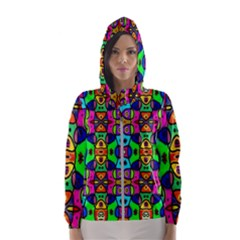 Artwork By Patrick Pattern 18 Hooded Wind Breaker (women)