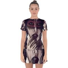 Femininely Badass Drop Hem Mini Chiffon Dress