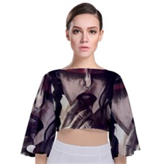 Femininely Badass Tie Back Butterfly Sleeve Chiffon Top by sirenstore