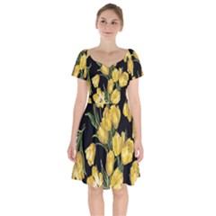 Yellow Tulip Short Sleeve Bardot Dress